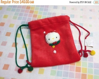 SPRING SALE Vtg 1994 Sanrio Hello Kitty Plush Drawstring Pouch 90s Kawaii  Red Cat Removeable Brooch Import db659137b9a53