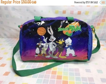 5962df21d0a SALE Space Jam 1996 Duffle Shoulder Travel Bag Looney Tunes 90s Kids  Collectible Cartoon Characters Basketball