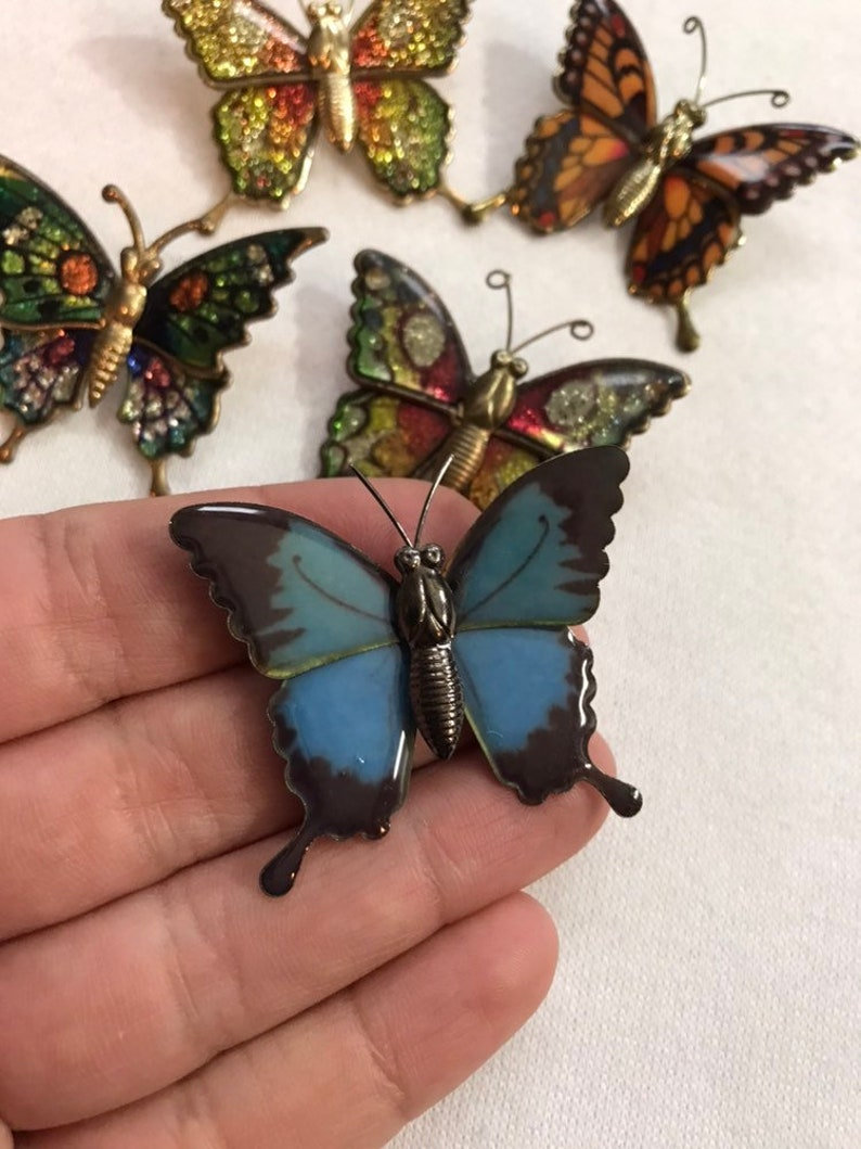 SAVE 25/% Vintage Enamel Butterfly Brooches Metal Jewelry Retro Kitsch Accessories 70s 80s Collectible Glitter Sparkle