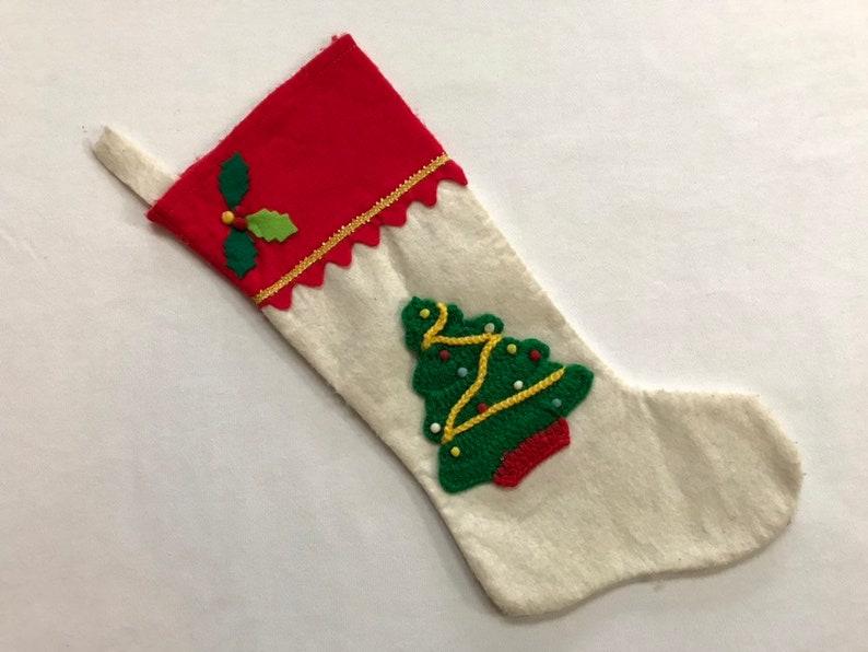 Vintage Felt Christmas Stocking with Christmas Tree Xmas Holiday Stocking Standard Size Decoration Ornament
