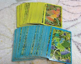 Cartes à jouer rétro des années 1960 Vintage papier ensembles complets de jeux éphémères! Adorables Illustrations perdrix