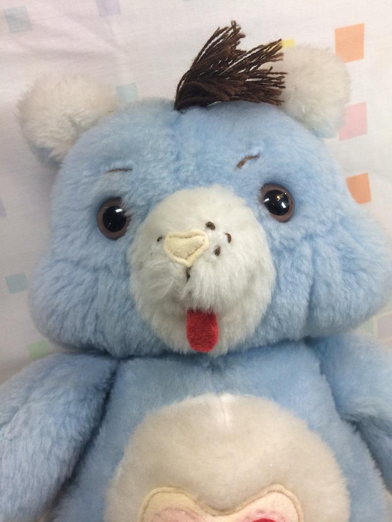 1980s Handmade Care Bear Plush with Heart Symbol Large 80s Kids Toys Stuffed Animal Blue