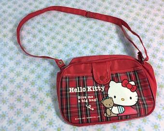 Sanrio Hello Kitty Purse 1991 Red Plaid Shoulder Bag Kids Children Cute Adjustable Strap 90s Girls