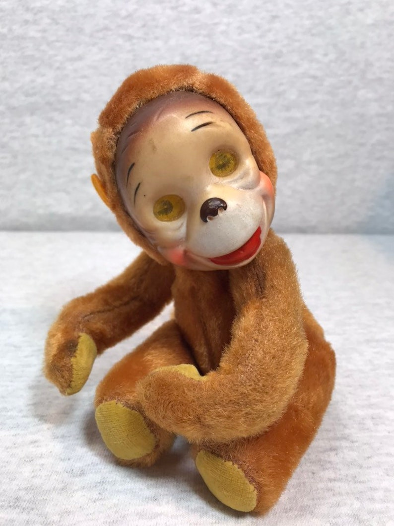 Chenille Rubber Face Monkey with Lenticular Blinking Eyes Japan Retro 50s Creepy Cute Sawdust Filled Plush Stuffed Animal Collectible
