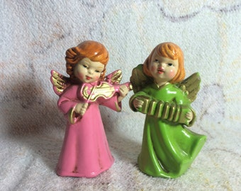Chalkware Colorful Angels Xmas Christmas Pink Green Retro Kitschy 60s Decor Collectible Japan