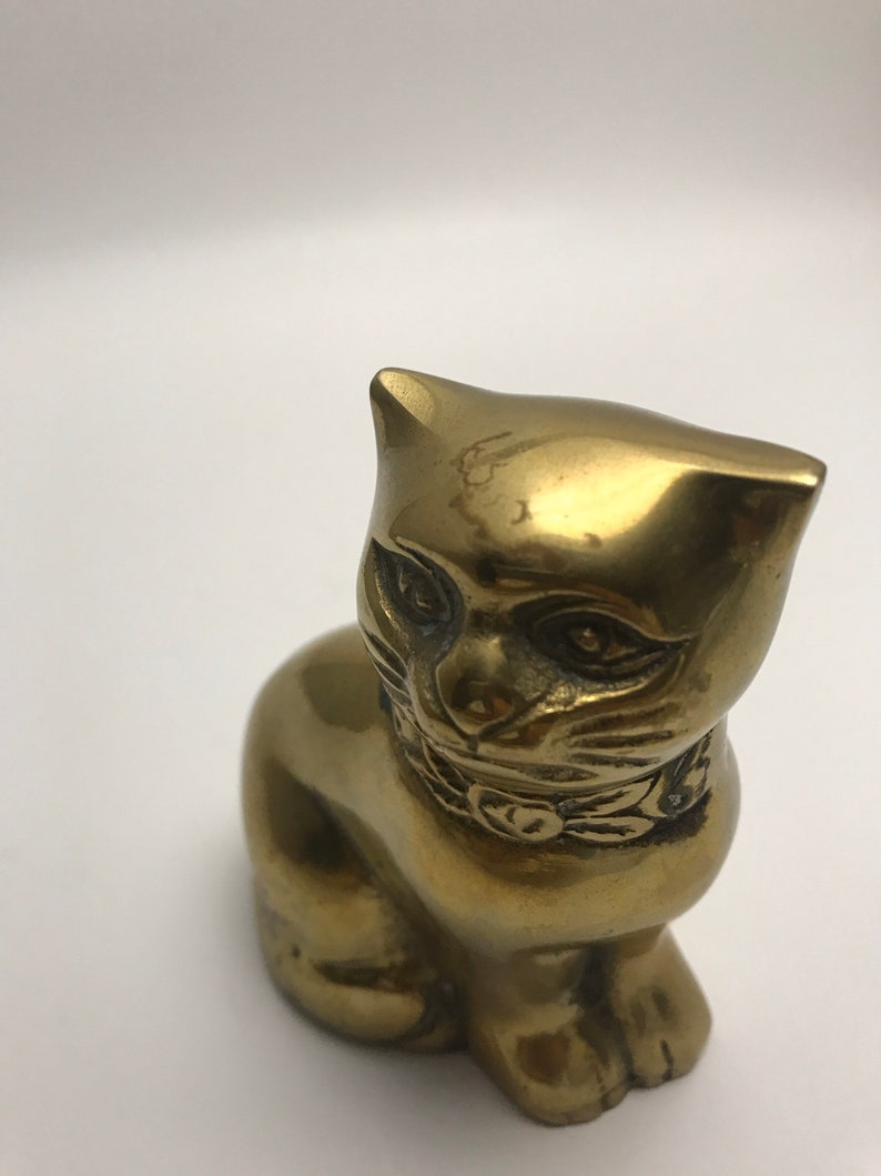Small Vintage Brass Cat Figurine Knick Knack Collectible Cute Home Decor Cute Kitty 70s