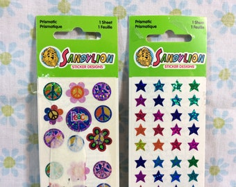 1990s Sandylion Peace Sign Flower Power and Stars Sticker Sheets Sealed Stickers Prismatic