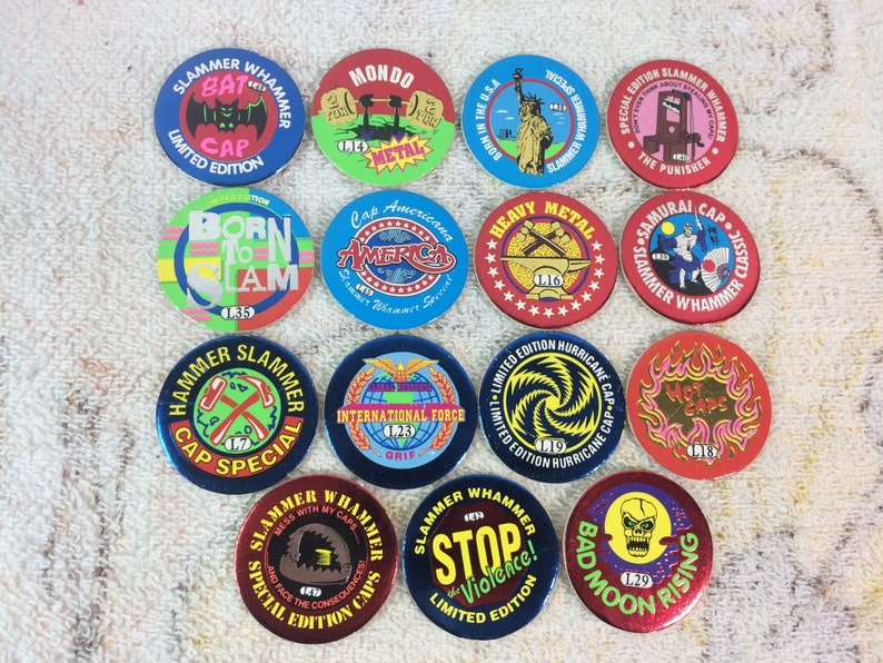 CLEARANCE 1994 lot of 15 Random Metallic Pogs Special Edition Slammer  Whammers America USA Imperial 90s Kids Games Toys