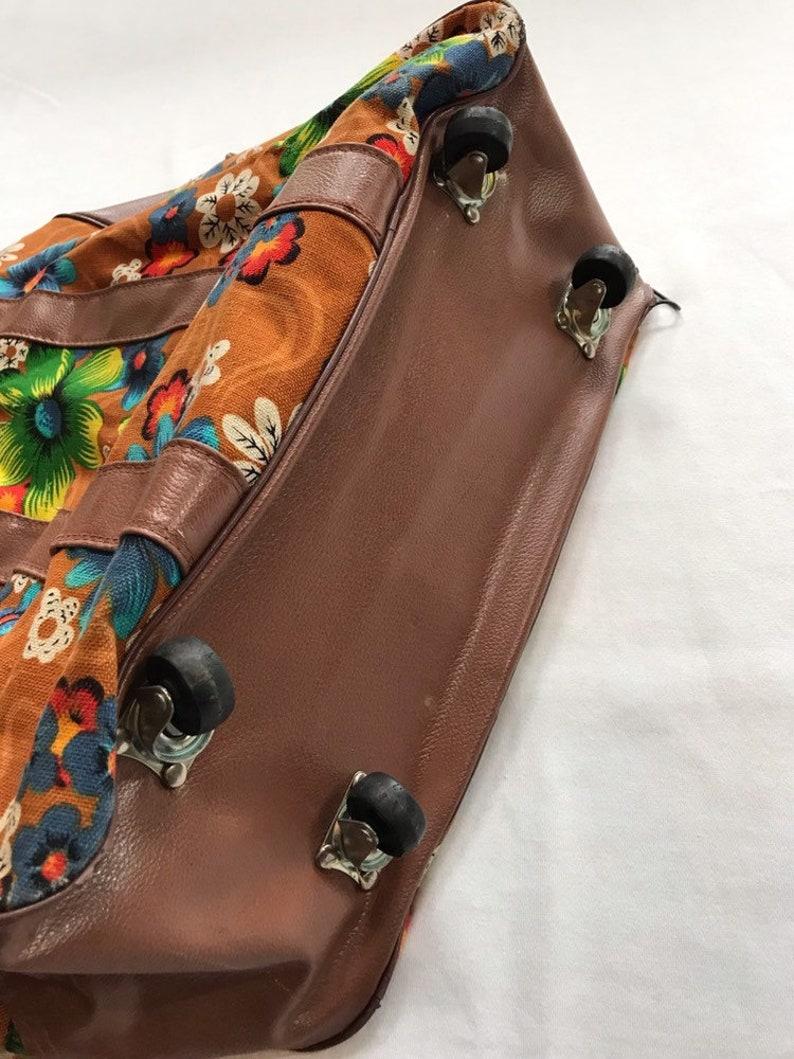 SAVE 25/% Retro Flower Power Carry On Floral Luggage Bag Overnight Retro Groovy Japan Travel with Wheels Large Jumbo Hawaiian Flowers