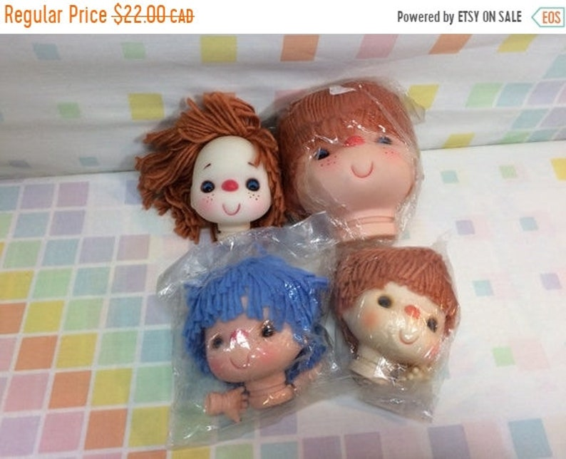 SUMMER SALE Cotton Candy Ice Cream Doll Heads for Crafting Lot of Four  Rubber Brown Hair Blue Hair Cute Craft Supplies