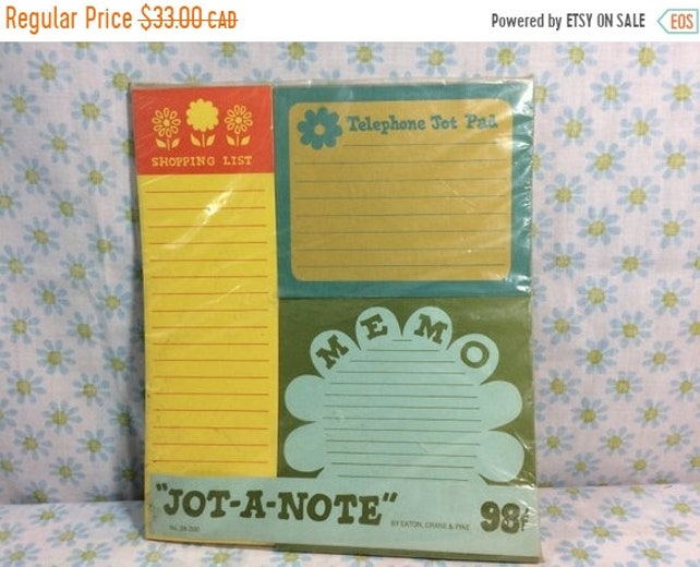 FALL CLEARANCE Vintage Deadstock 1960s Jot-a-note Pack Retro Cute Paper Ephemera Flower Power Shopping List Memo Pad