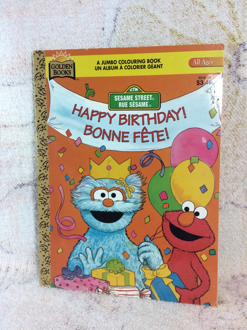CLEARANCE 1996 Golden Sesame Street Jumbo Coloring Book Unused Uncolored  Muppets Jim Henson Happy Birthday