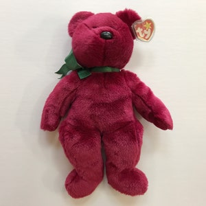 Teddy ~ Ty Beanie Babies Plush Bear with Burgundy Ribbon ~ Vintage Collectible Beanbag Stuffed Animal Toy