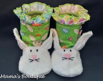 0-3M Stay on Booties/ Booties/ Bunny Booties/ Easter Booties/ Crib Shoes/Ruffle booties/ Hi-top booties/