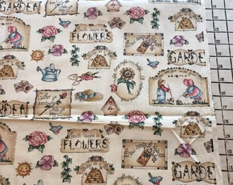Fabric Light Weight Woven Cotton Garden Postage Stamp Print Marcus Bros Size 1 Yard X 43