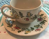 Vintage Tea Cup Set 2 Pieces Gretchen Staffordshire Old Granite Johnson Bros Made in England 3189