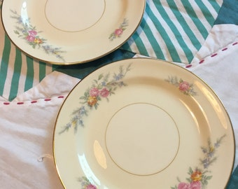 Vintage 2 Piece Set of Bread and Butter Plates Ferndale N1577 Eggshell Nautilus Homer Laughlin Made in The USA #3880