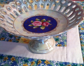 Vintage Pedestal Bowl Pink Roses Reticulated Edge Iridescent Pearlized Finish