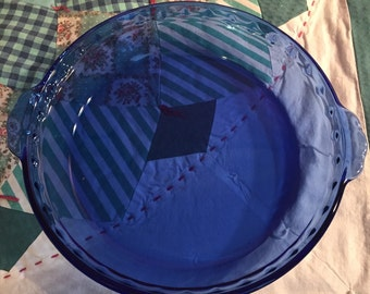 Vintage Cobalt Blue Pyrex Pie Plate with Handles Made in The USA