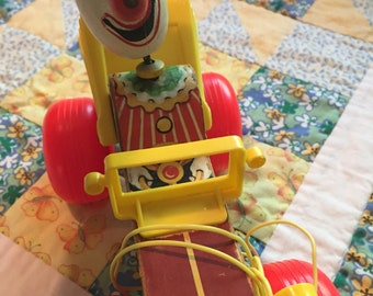 Vintage Clown Jalopy Fisher Price Pull Toy Vintage Wooden Toy