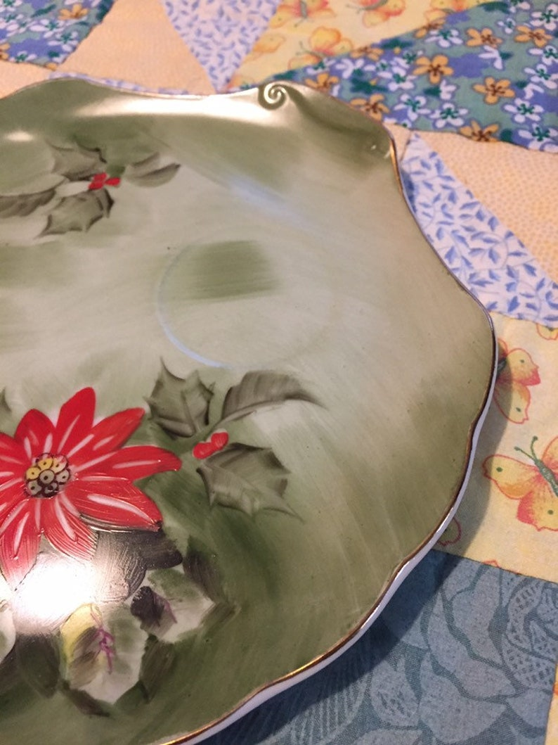 Vintage Lefton China Snack Plate Christmas Poinsettia Christmas Plate Poinsettia Plate 4397 Replacenent Snack Plate
