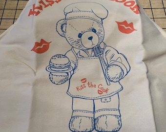 Vintage Cherished Teddies Apron Kiss The Cook Apron Vintage Apron Teddy Bear Apron