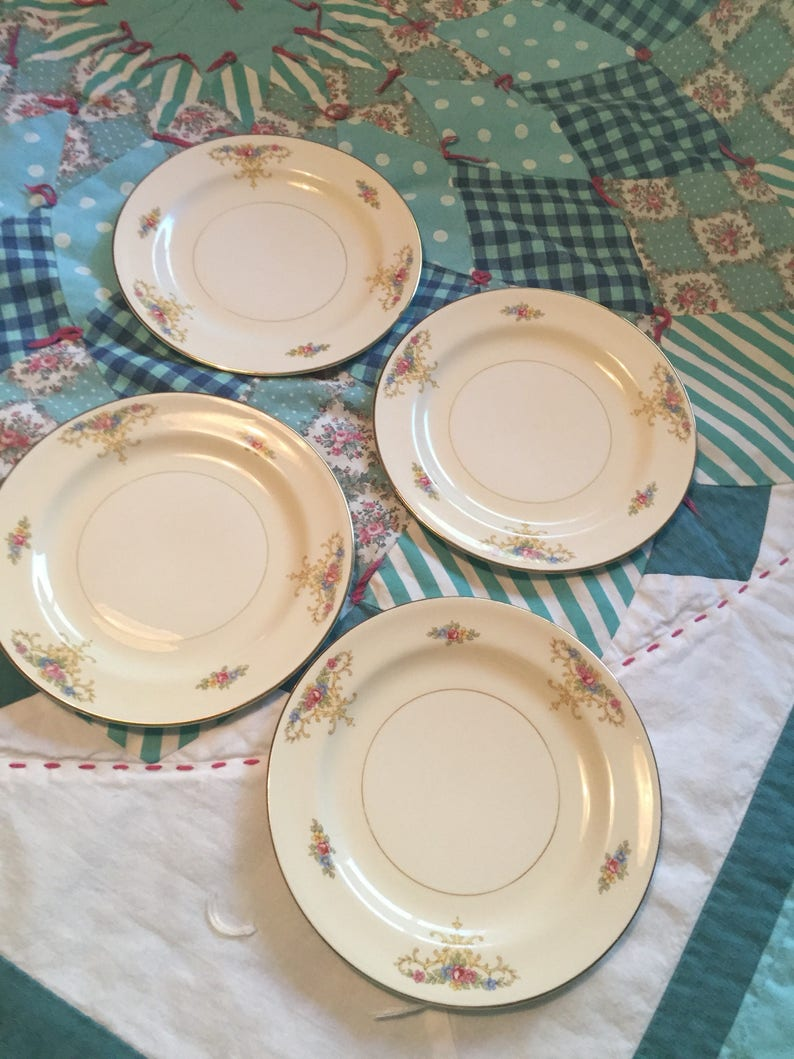 Vintage 4 Piece Bread And Butter Plate Set Rochelle N1591 Etsy