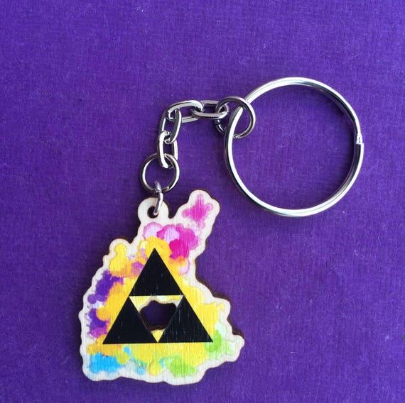 En Bois Legend Of Zelda Triforce Tatouage Aquarelle Keychain Etsy