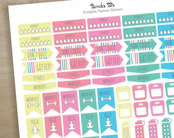 Fitness Printable Planner Stickers Fitness Set 01 Pretty Etsy