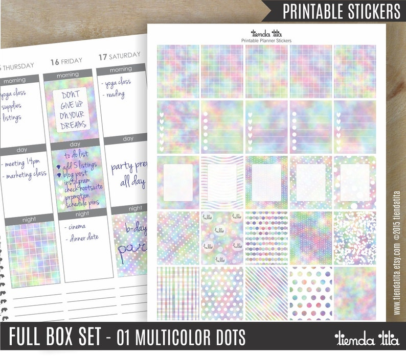 image about Dots and Boxes Printable titled Printable Planner STICKERS Complete Box Fastened 01 Multicolor Dots 25 bins excellent for erin condren and other planners JPG PDF data files