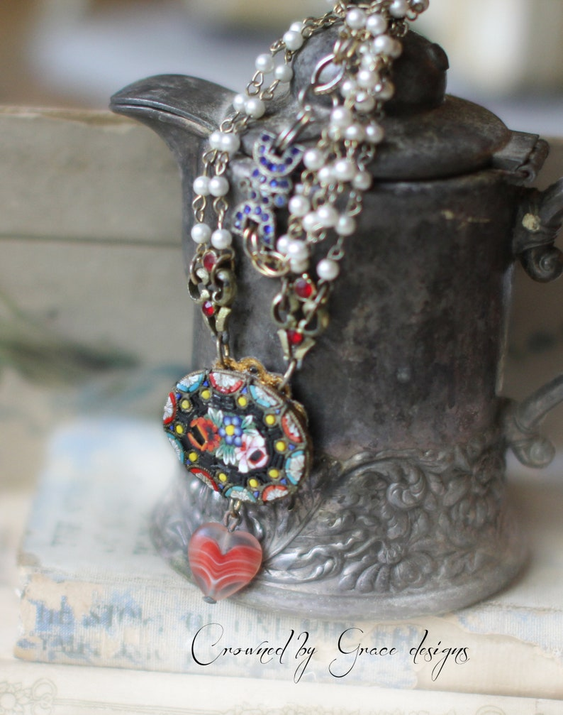 Liberty Love necklace~ vintage assemblage necklace red white blue Italian mosaic micro tiles heart flowers roses crownedbygrace