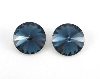 2 Swarovski Crystal 12mm Montana Blue Rivolis