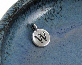 "NEW TierraCast Silver Letter ""W"" Disk Charm *YOU Collection*"