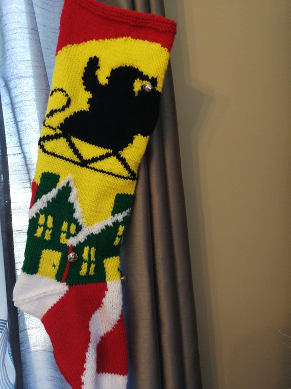 Fuchsia  snowman Christmas stocking hand knit by Anasniftyknits on Etsy