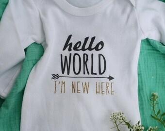 Hello World Newborn Sleep Gown or Bodysuit (onesie). Personalized. Gender Neutral.