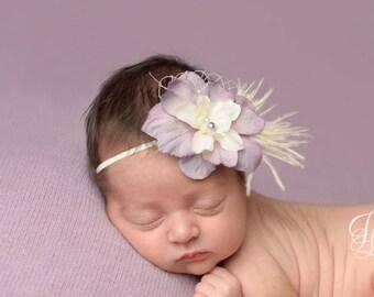 feather baby headband, baby headband, small flower headband, newborn headband, flower girl hair accessories