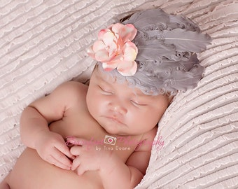 baby feather headband, Gray Vintage Feather Headband, Newborn PHOTOGRAPHY PROP