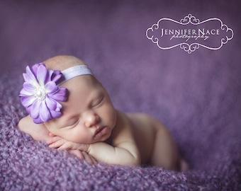 Purple Lavender Baby headband, pink flower, Small Flower headband, newborn headband, Stretch Soft Elastic PHOTOGRAPHY PROPS