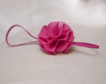 headband, Hot Pink Chiffon headband on skinny elastic newborn headband, baby headband, teen headband, flower girl hair accessories