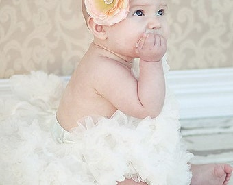 Peach Flower Headband, baby headband, flower girl hair accessories