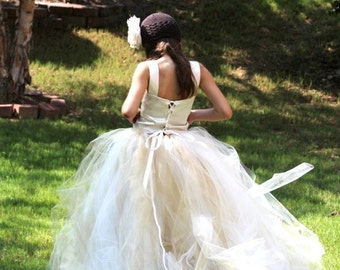 Tulle skirt, ivory with a hint of gold, flower girl tutu, bambaroos boutique