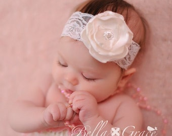 Off white Lace Headband with satin flower pearls rhinestones Perfect for Photography BAPTISM Christening Dedication