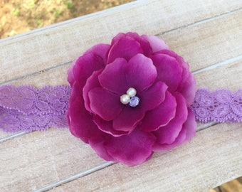 newborn headband, baby headband, purple headband, flower girl headband, spring headband