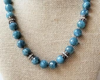 Kyanite Statement Necklace, Kyanite Choker, Art Nouveau Choker, Art Nouveau Necklace Beaded, Kyanite Gemstone Necklace, Knotted Gemstones