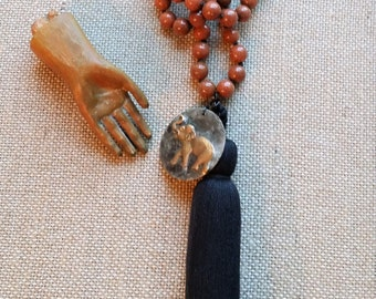 Elephant Necklace, Knotted Sunstone Mala, Black Tassel Necklace, Sunstone Tassel Necklace, Gemstone and Tassel Jewelry
