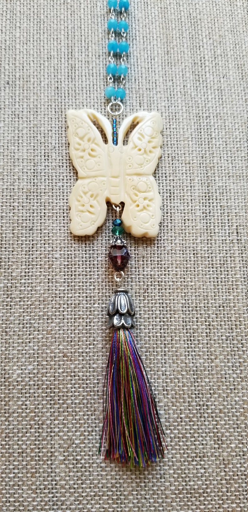 Nature Jewelry Butterfly Tassel Necklace Carved Butterfly Necklace Butterfly Gift Blue Jade Wire Wrapped Chain With Butterfly Pendant