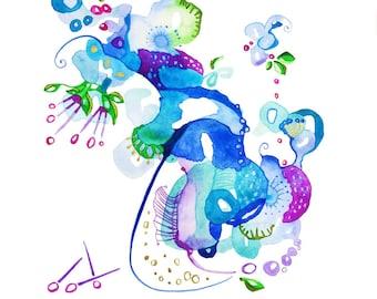 Original Artwork Botanical Art, Watercolor Abstract Painting, Watercolor Art, Children's Art,  Nature Abstract, Floral Abstract, Floral Art