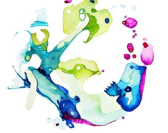 Bird Art, Nature Art, Watercolor Art Print, Children's Art, Nature Abstraction
