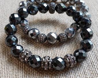 Hematite 8mm Faceted Gemstone Stretch Bracelet, Beautiful Hematite Stretch Stacking Bracelets, Hematite Jewelry, Healing Gemstone Bracelet