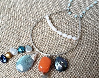 Long Boho Labradorite Necklace, Hammered Silver Hoop Pendant, Pearl and Labradorite Necklace, Pendant Necklace with Gemstone Dangles